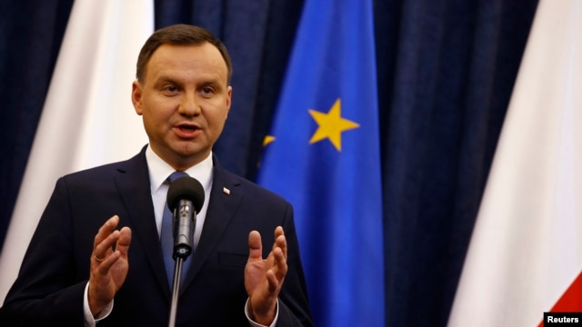 Poland's President Andrzej Duda speaks at the Presidential Palace in Warsaw, Poland, on Dec. 28, 2015.