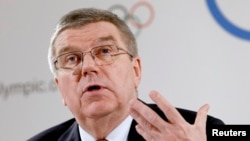 International Olympic Committee (IOC) President Thomas Bach addresses a news conference in Lausanne, Switzerland, March 2, 2016.