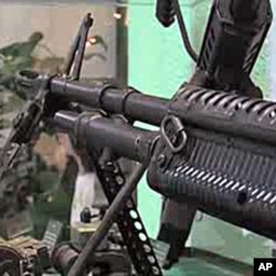 Machine guns confiscated are on display at the narco-museum