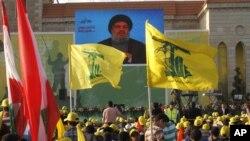 El líder de Hezbolá, Sheik Hassan Nasrallah, dio un discurso a sus seguidores en el sur del Libáno desde un lugar secreto en mayo.