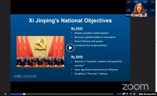 Chuyên gia Bonnie Glaser trình bày các tham vọng của Trung Quốc đến năm 2035 và 2049.