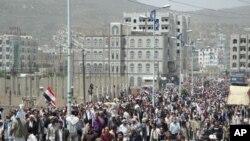 په لسګونو زره یمنیان لارو کوڅو ته راووتل