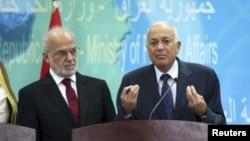 د عراق د بهرنیو چارو وزیر ابراهیم الجعفري د عرب لیک د مشر سره د داعش سره په مبارزې خبرې کوي