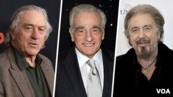 De izquierda a derecha: Robert De Niro, Martin Scorsese, Al Pacino. Tres leyendas del cine (y Joe Pesci), en una pelicula que bien podría ganar un Oscar.