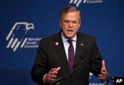 FILE - Candidate Jeb Bush speaks at the Republican Jewish Coalition Presidential Forum in Washington, Dec. 3, 2015.