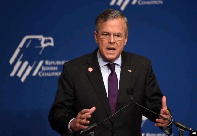 Republican presidential, former Florida Gov. Jeb Bush speaks at the Republican Jewish Coalition Presidential Forum in Washington, Dec. 3, 2015.