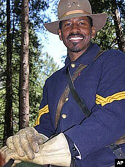 Park ranger Shelton Johnson portrays one of the U.S. Army's Buffalo Soldiers as part of his interpretation of Yosemite's history
