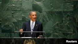 美國總統奧巴馬星期三在聯合國大會發表演說