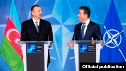 Press Point with NATO Secretary General, Mr. Anders Fogh Rasmussen (right) and The President of Azerbaijan, Mr. Ilham Heydar oglu Aliyev (left)