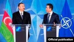 Press Point with NATO Secretary General, Mr. Anders Fogh Rasmussen (right) and The President of Azerbaijan, Mr. Ilham Heydar oglu Aliyev (left)