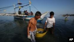 Ngư dân Philippines đang mang cá của họ tới bờ biển ở thị trấn ven biển phía tây bắc Philippines. (AP Photo/Aaron Favila)