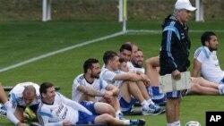 Đội tuyển Argentina tập luyện ở Vespesiano, ngày 10/7/2014.