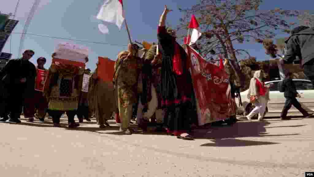 کوئٹہ میں مارچ کے شرکا کی حفاظت کے لیے سخت سیکیورٹی انتظامات کیے گئے تھے۔