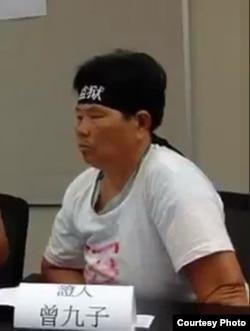 曾九子今年7月在香港見媒體(劉衛平)