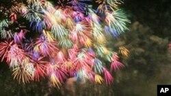 Les feux d'artifices à New-York, en l'honneur du 4 juillet