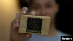 This soap called Evoware is from Indonesia. It is wrapped with seaweed-based packaging that you can eat. Picture taken October 26, 2017. (REUTERS/Beawiharta)