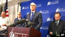 華盛頓州州長英斯利1月21日在記者會上宣布該州出現美國首例新冠病毒傳染確診病例。