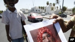A Libyan rebel fighter shows a manipulated photograph of Moammar Gadhafi at a checkpoint in Tripoli August 29, 2011.