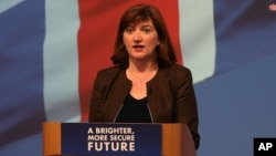 "FILE - ""It should appall us all that ... we still don't have gender equality in every aspect of our society,"" British Minister for Women and Equalities Nicky Morgan says."