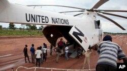 Un hélicoptère de l'ONU à Yida, au Soudan du Sud, 14 septembre 2012.