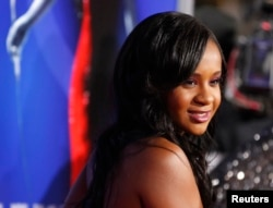 "FILE - Bobbi Kristina Brown poses at the premiere of ""Sparkle"" in Hollywood, California, Aug. 16, 2012."