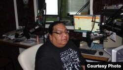 This courtesy photo shows KKWE Niijii radio show host Terry Goodsky at work in Callaway, Minnesota.