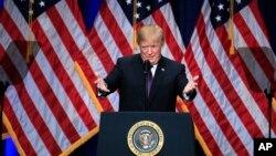 Presiden Donald Trump memaparkan strategi keamanan nasional di Washington, Senin, 18 Desember 2017.