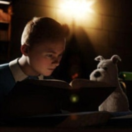 "Tintin (Jamie Bell) and Snowy in ""The Adventures of Tintin"""