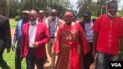 Douglas Mwonzora, Thokozani Khupe and other MDC-T leaders seen just before the party held an Extraordinary Congress in Harare on Sunday.