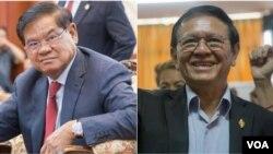 លោក ស ខេង ប្រធានថ្នាក់ដឹកនាំតំណាងរាស្ត្រនៃគណបក្សប្រជាជនកម្ពុជា (ឆ្វេង) និងលោក កឹម សុខា ដែលទើបក្លាយជាប្រធានក្រុមតំណាងរាស្ត្រគណបក្សសង្គ្រោះជាតិ (ស្តាំ)។ (VOA Khmer)