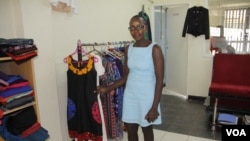 Fashion designer Mercy Makena flies regularly to China to access quality fabrics at an affordable price. (VOA /R. Kyama)