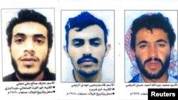 Коллаж, выпущенный министерством внутренних дел Йемена 14 февраля 2006 года, на котором изображены боевики «Аль-Кайды», сбежавшие из тюрьмы в Сане 3 февраля того же года, слева направо: Аариф Салех Муджалли, Касим аль-Райми и Мухаммед Абдулла аль-Дайлами