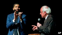 ackson Mayor Chokwe Antar Lumumba, left, applauds as U.S. Sen. Bernie Sanders, I-Vt., answers a question during a town hall meeting examining economic justice 50 years after the assassination of Dr. Martin Luther King Jr., in Jackson, Miss, April 4, 2018.