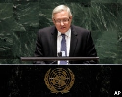 FILE - Sergei Ryabkov, deputy foreign minister of the Russian Federation, addresses the Nuclear Nonproliferation Treaty conference at United Nations headquarters, May 4, 2010.