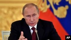 Presiden Rusia Vladimir Putin di Kremlin, Rusia (14/10).