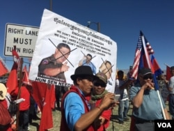 Hundreds of Cambodian-Americans from across the United States hold a protest at Sunnylands, California, Monday, February 15, 2016, to protest the visit of Cambodian Prime Minister Hun Sen.
