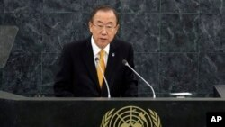 U.N. Secretary General Ban Ki-moon addresses the 68th session of the United Nations General Assembly, Tuesday, Sept. 24, 2013 at U.N. headquarters. (AP Photo/Richard Drew)