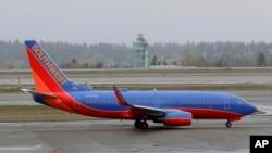 """Avion kompanije """"Sautvest"""" na pisti Međunarodnog aerodroma u Sijetlu, 13. aprila 2018. godine"""