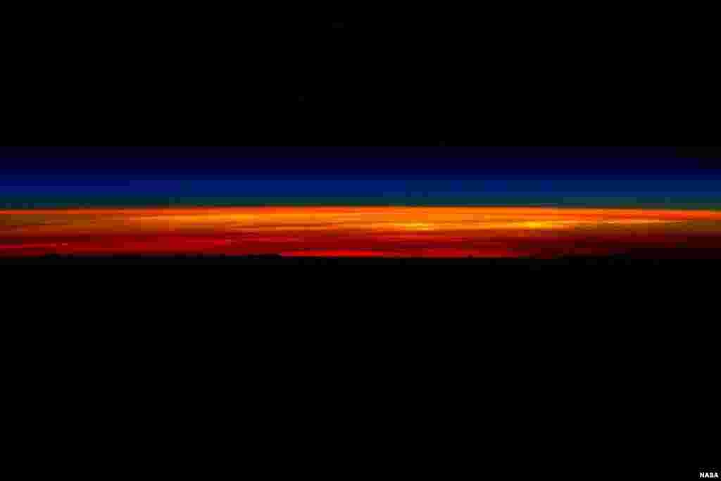 "NASA astronaut Scott Kelly shared a series of sunrise photographs with his social media followers, March 1, 2016, as he prepared to depart the International Space Station and return to Earth aboard a Soyuz TMA-18M spacecraft. Posting this first image, Kelly wrote, ""Rise and shine! My last #sunrise from space then I gotta go! 1 of 5. #GoodMorning from @space_station! #YearInSpace"""