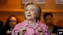 미국 대선에 출마한 힐러리 클린턴 전 미 국무장관이 지난 27일 캘리포니아주 오클랜드에서 선거유세를 펼치고 있다. (자료사진)