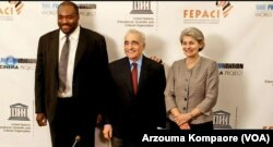 De la gauche ver la droite; Aboubakar Sanogo (FEPACI), Martin Scorsese (le Film Foundation), Irina Bokova (UNESCO)
