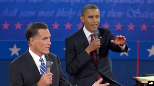 President Barack Obama, right, and Republican presidential candidate Mitt Romney participate in the presidential debate, October 16, 2012, at Hofstra University in Hempstead, New York.