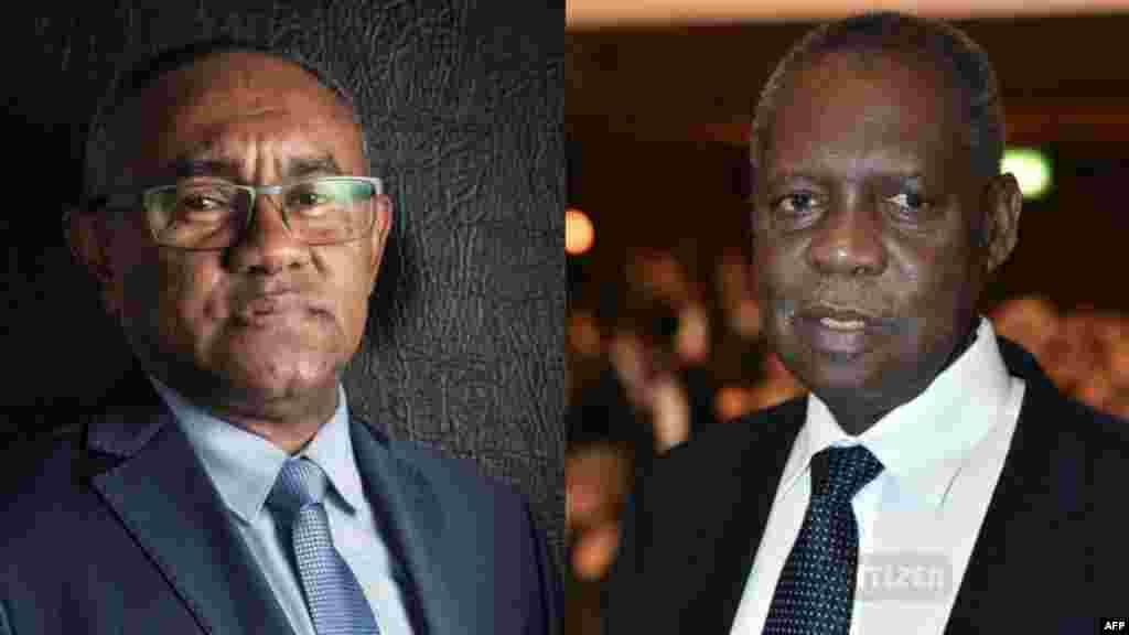 Ahmad Ahmad (Kuliah) le nouveau président de la CAF etIssa Hayatou (à gauche) l'ancien président de la CAF.