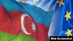 Azərbaycan və Avropa Ittifaqının bayraqları
