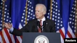 U. S. Vice President Joe Biden delivers his speech on U.S policy in Iraq at the National Defense University at Fort McNair in Washington, D.C.,April 9, 2015.