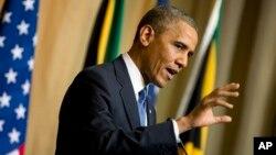 Tổng thống Hoa Kỳ Barack Obama phát biểu trong một cuộc họp báo tại Pretoria, Nam Phi, ngày 29/6/2013.