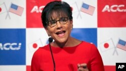 Bộ trưởng Thương mại Hoa Kỳ Penny Pritzker phát biểu tại Phòng Thương mại Hoa Kỳ ở Tokyo, Nhật Bản 21/10/14