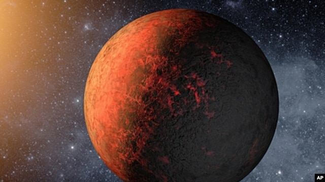 An artist's drawing of an exoplanet discovered by the Kepler space telescope. (NASA)