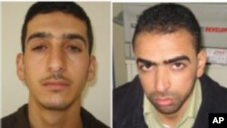 FILE - Two-picture combo image provided by Shin Bet, Israel's security service, shows Marwan Qawasmeh, left, and Amer Abu Aisheh, right.