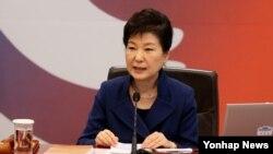 박근혜 한국 대통령이 12일 청와대에서 열린 국무회의에서 모두발언을 하고 있다.